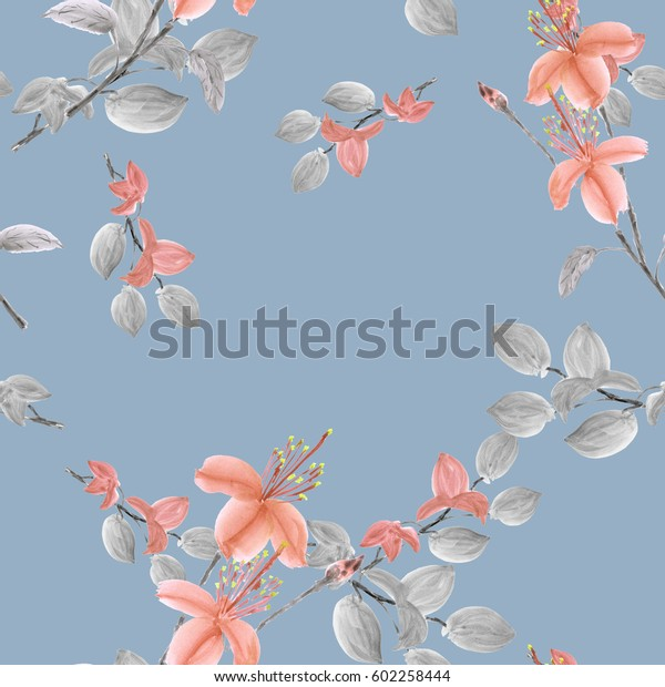 Seamless pattern of wild orange flowers and gray branches on a gray background. Watercolor