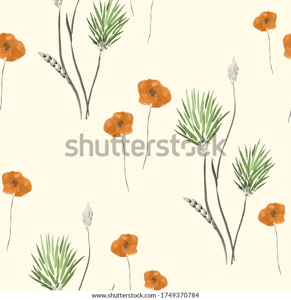 Seamless pattern of wild orange and green flowers on a light yellow background. Watercolor