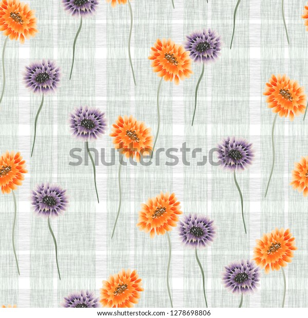 Seamless pattern of wild orange and violet flowers on a green cell background. Watercolor