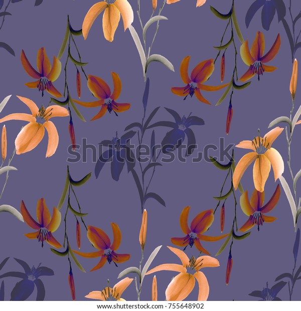 Seamless pattern of wild orange and violet flowers of lily on a  dark violet background. Watercolor