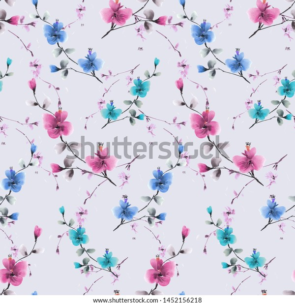Seamless pattern wild pink and blue flowers on a violet background. Watercolor -4