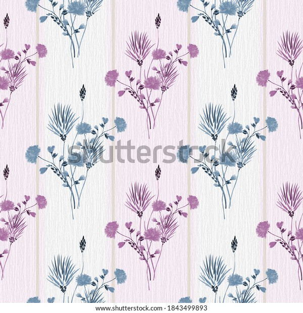 Seamless pattern of wild pink and blue flowers on a pink background with vertical beige stripes. Watercolor