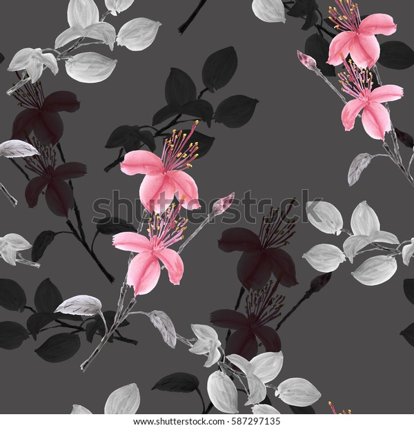Seamless pattern of wild pink flowers and branches on a deep gray background. Watercolor