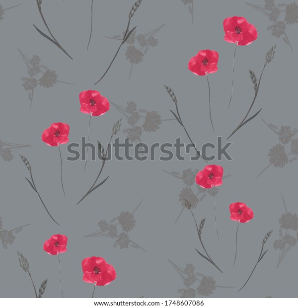 Seamless pattern of wild pink poppy flowers on a dark gray background. Watercolor.