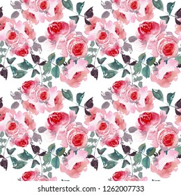 Seamless pattern wild pink roses flower and green leaves. Watercolor floral illustration. Botanical decorative element. Flower concept. Botanica concept.