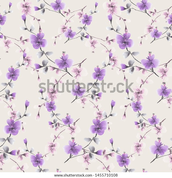 Seamless pattern wild pink and violet  flowers on a pink background. Watercolor -4