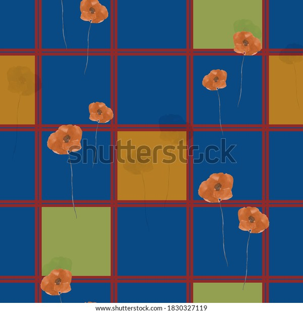 Seamless pattern of wild poppies with orange flowers and green and orange squares in a red cell on a blue background. Watercolor