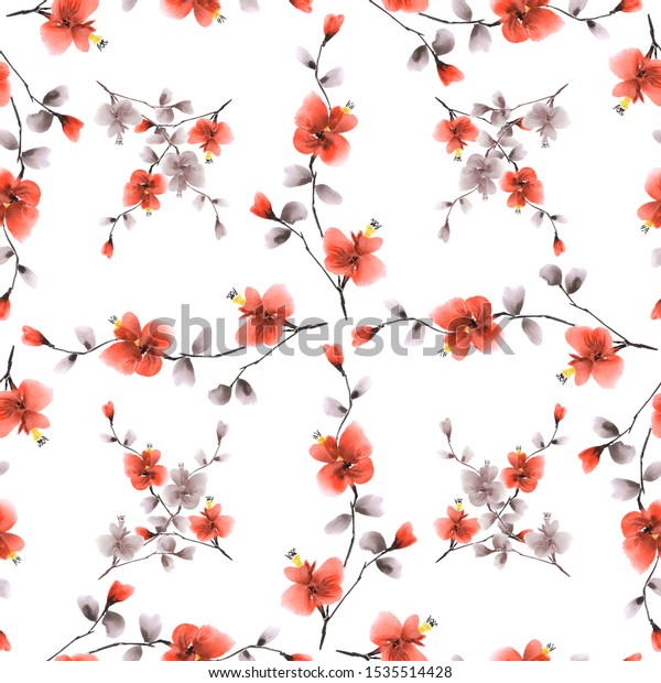Seamless pattern wild red and beige flowers and branches on a white background. Watercolor -5