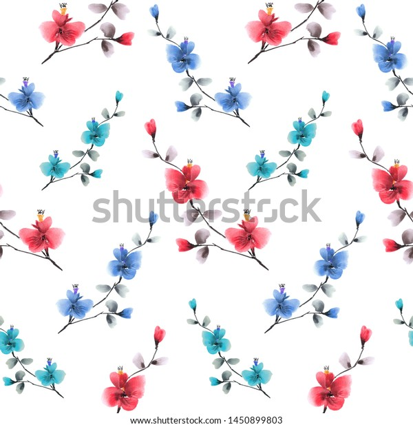 Seamless pattern wild red, blue and  turquoise flowers on a white background. Watercolor -4