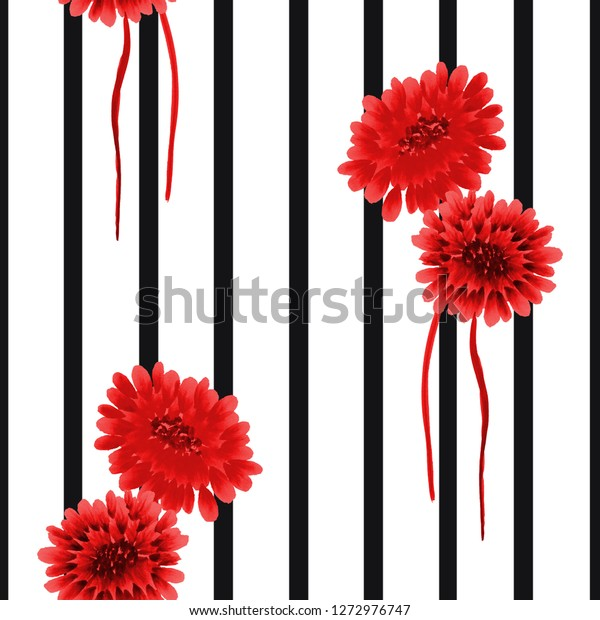 Seamless pattern of wild red flowers on a white background with black vertical stripes. Watercolor