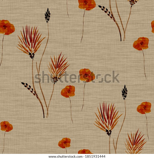 Seamless pattern wild  red flowers on a deep beige background. Watercolor