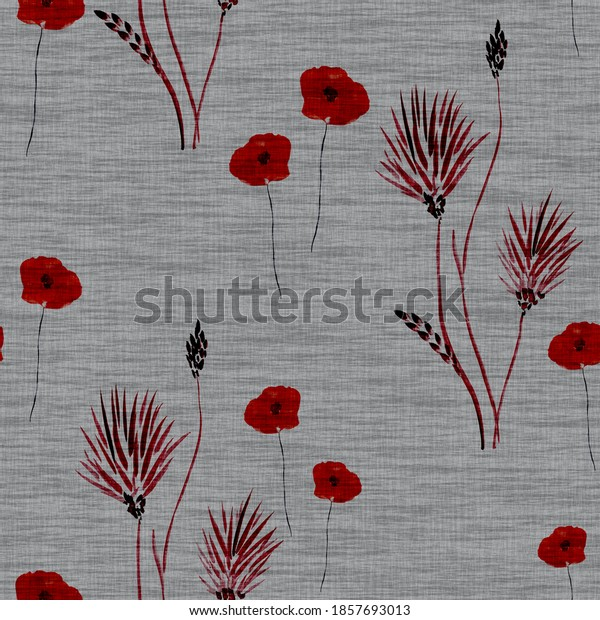 Seamless pattern wild  red flowers on a dark gray linen background. Watercolor