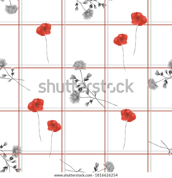 Seamless pattern of wild red and gray flowers in a gray and red cell on a white background. Watercolor