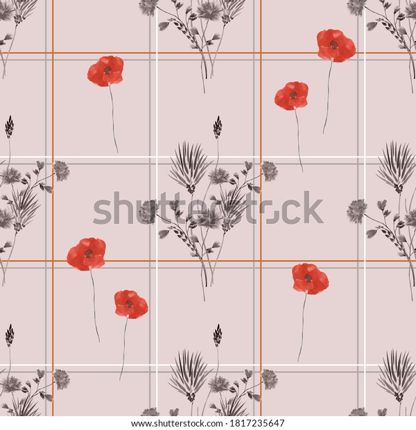 Seamless pattern of wild red and gray flowers in a gray and red cell on a light pink background. Watercolor