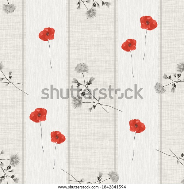 Seamless pattern of wild red and gray flowers on a beige background with vertical gray stripes. Watercolor