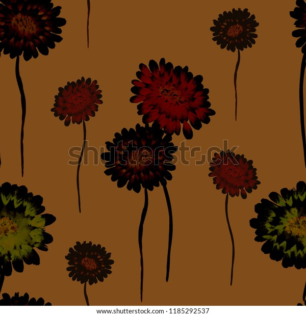 Seamless pattern of wild red, green, black flowers on a deep orange background. Watercolor