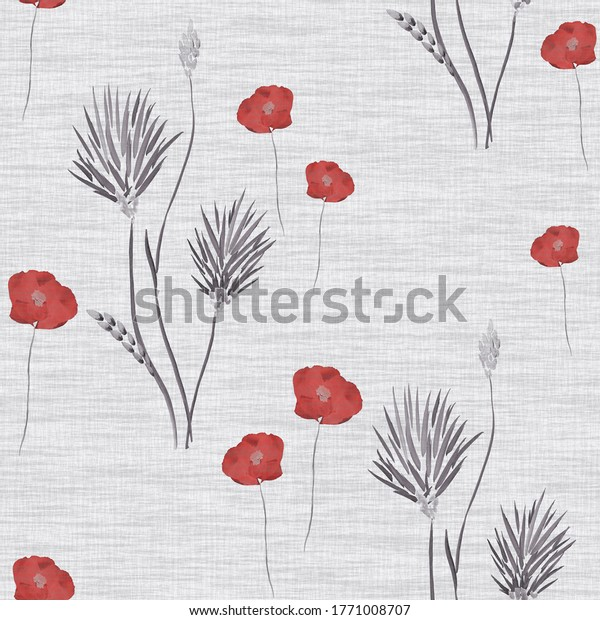 Seamless pattern of wild red and grey flowers on a light gray linen background. Watercolor