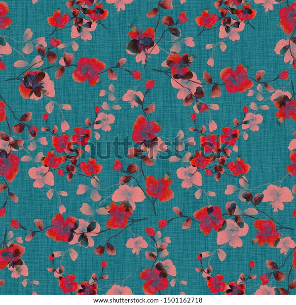 Seamless pattern of wild red and pink flowers on a dark blue background.