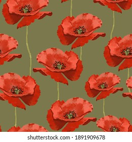 Seamless pattern with wild red poppies. Poppy flowers. Seamless background pattern of poppy flowers. Surface design for interior decoration, textile printing, printed issues, invitation cards
