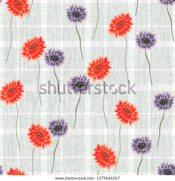 Seamless pattern of wild red and violet flowers on a gray cell background. Watercolor