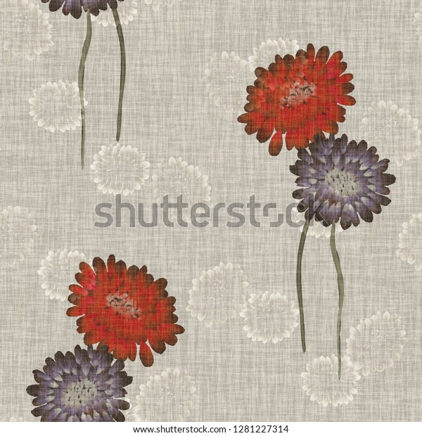Seamless pattern of wild red and violet flowers on a light beige background. Watercolor -2