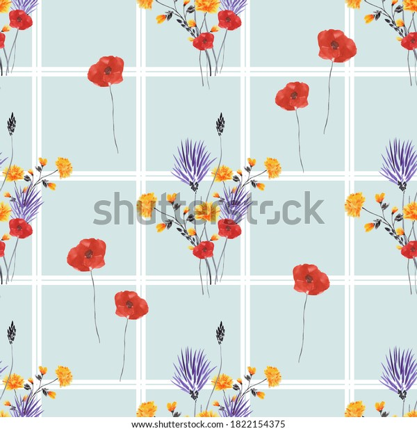 Seamless pattern of wild red, violet and yellow flowers in a white cell on a light blue background. Watercolor