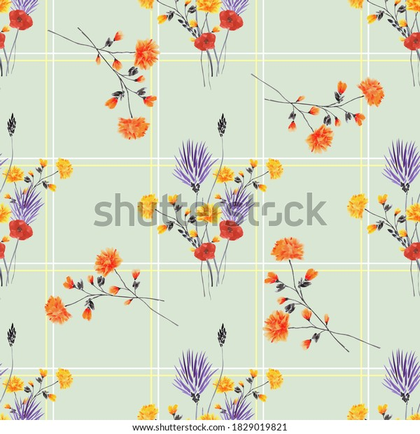 Seamless pattern of wild red and violet flowers in a white and yellow cell on a light green background. Watercolor