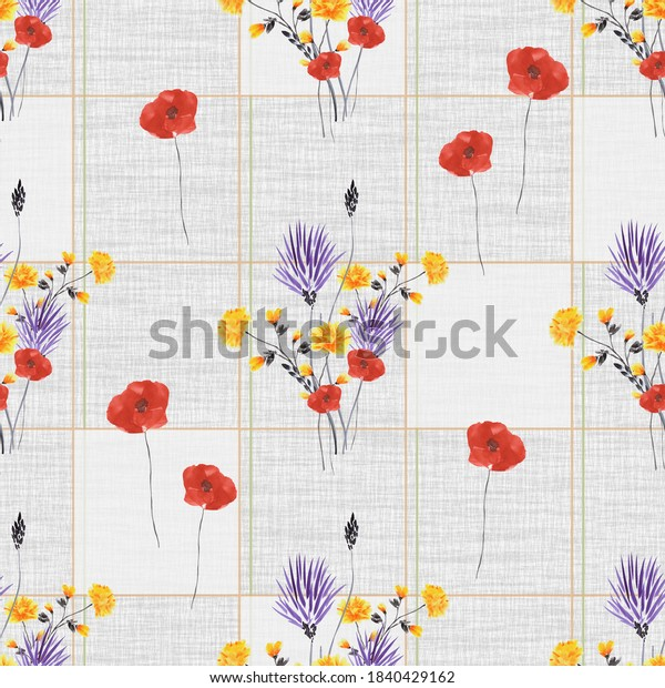 Seamless pattern wild red, violet, yellow flowers with gray squaers  on a gray linen gray background. Watercolor