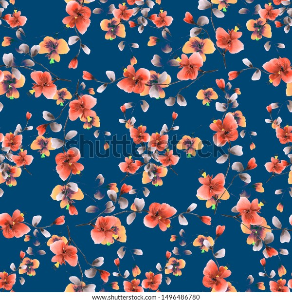 Seamless pattern of wild red and yellow flowers on a dark blue background. Watercolor -5