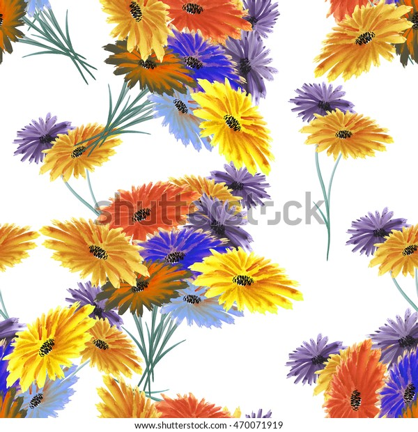 Seamless pattern wild red, yellow, blue flowers on the white background. Watercolor.