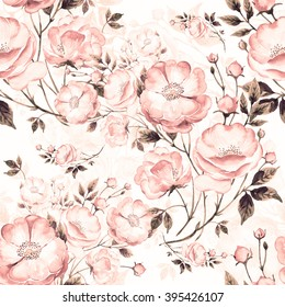 Seamless pattern of wild rose C . The pattern of watercolor sketches by hand. Beautiful background for your design and decoration