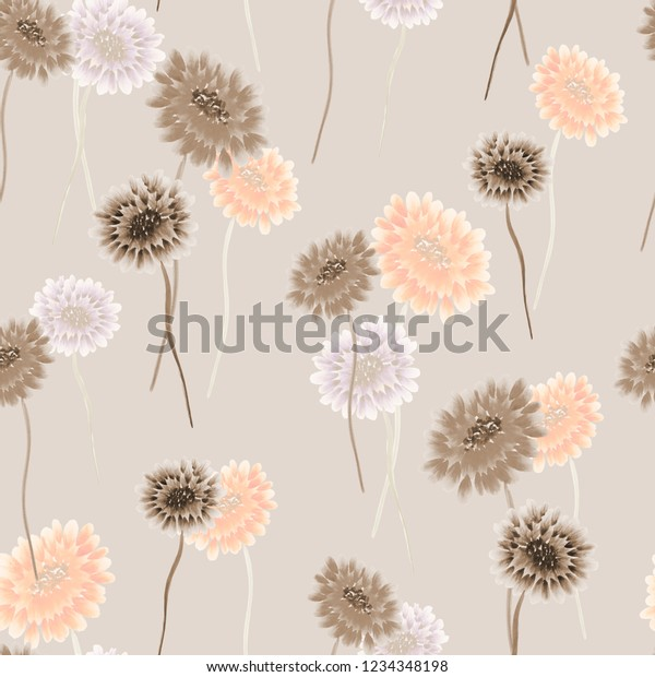 Seamless pattern of wild small beige and orange flowers on a light  beige background. Watercolor