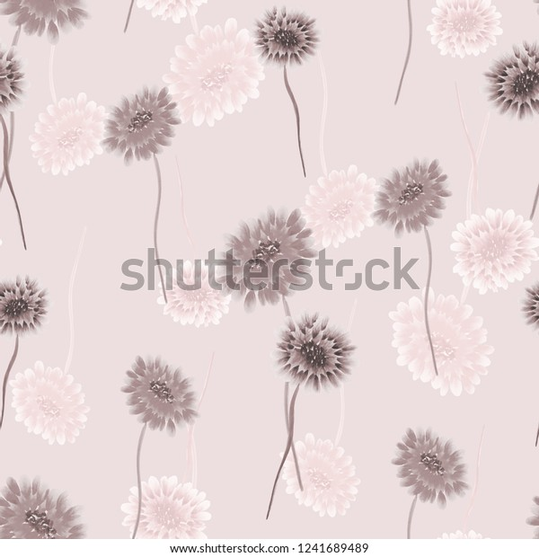 Seamless pattern of wild small beige and pink flowers on a light pink background. Watercolor