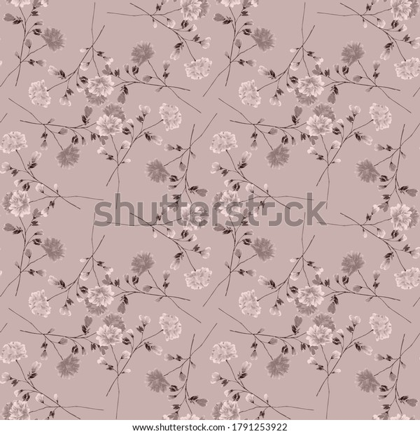 Seamless pattern wild small  beige flowers on a deep pink background. Ornament. Watercolor