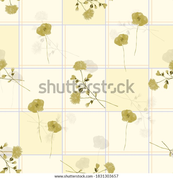 Seamless pattern of wild small beige and gray flowers in a blue cell on a light yellow background. Watercolor