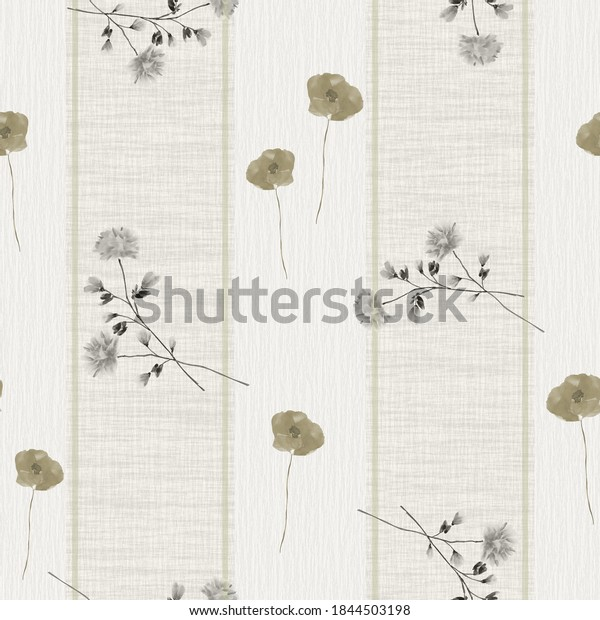 Seamless pattern of wild small beige and gray flowers on a beige background with vertical stripes. Watercolor