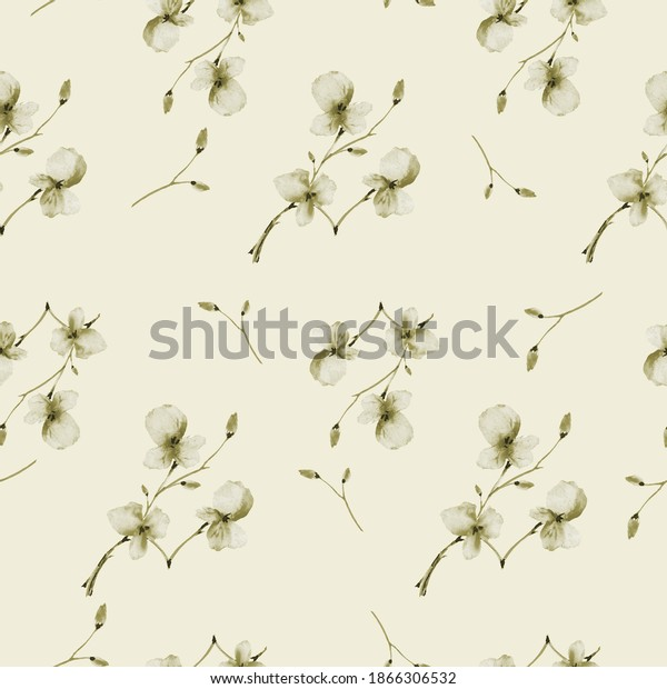 Seamless pattern wild small beige flowers on a light beige background. Watercolor