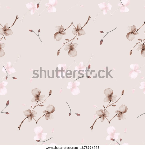 Seamless pattern wild small beige flowers on a pink background. Watercolor