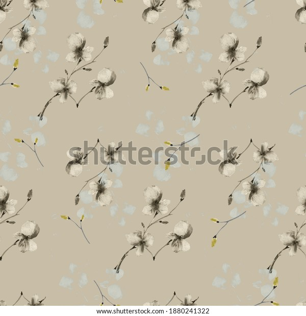 Seamless pattern wild small beige and green flowers on a deep beige background. Watercolor
