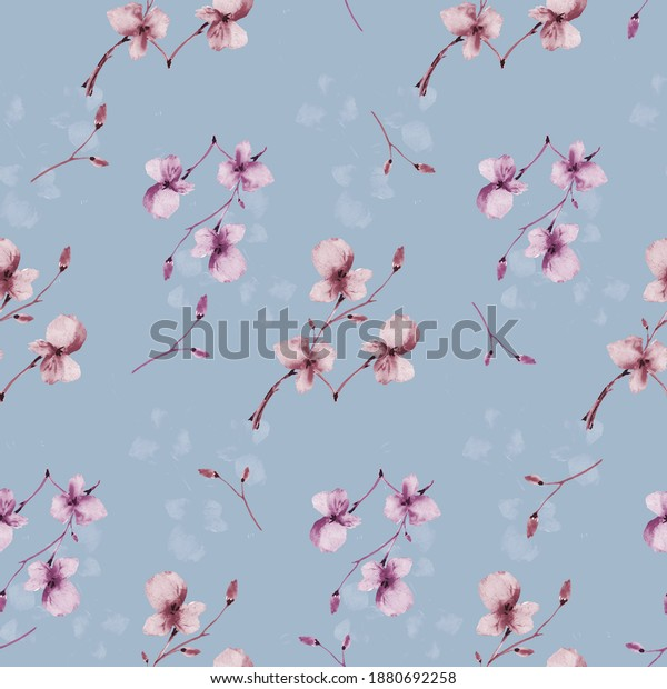 Seamless pattern wild small beige and violet flowers on a deep blue background. Watercolor