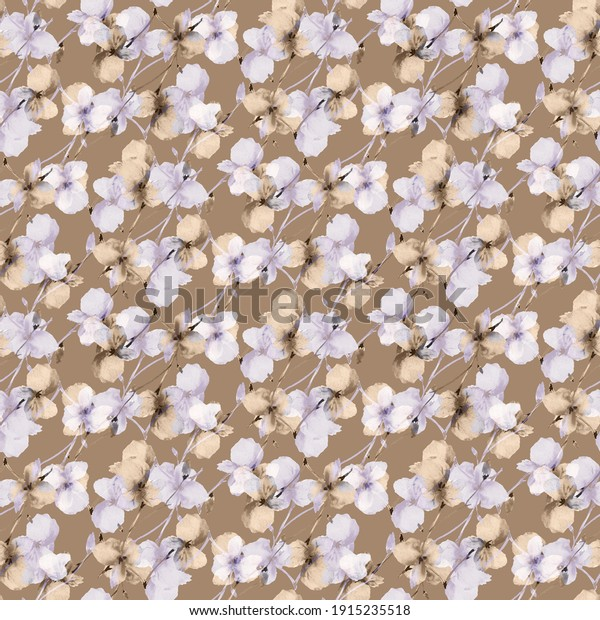 Seamless pattern of wild small beige and violet flowers on a deep beige background. Watercolor. Floral background