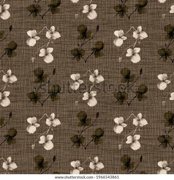 Seamless pattern wild small beige flowers on a darkn beige background. Watercolor