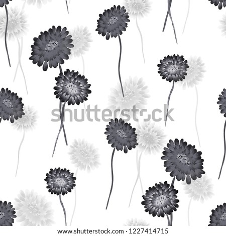 Seamless pattern of wild small black and gray flowers on a white background. Watercolor