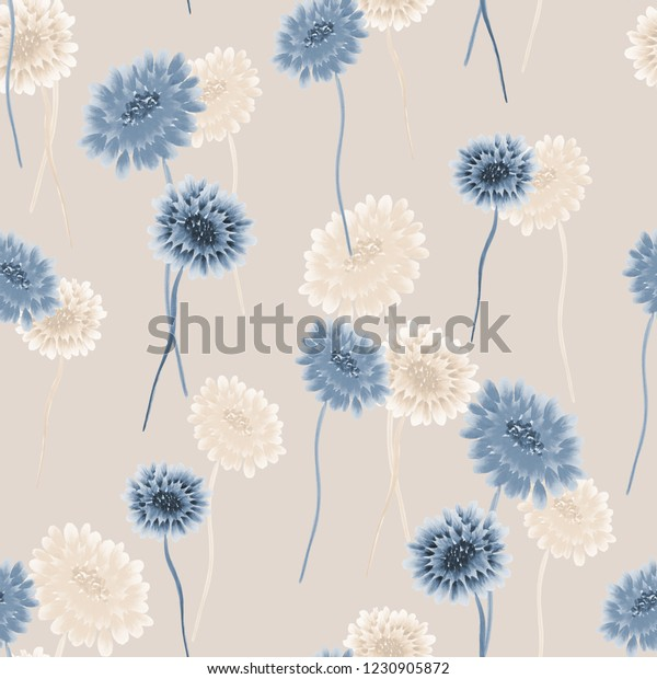 Seamless pattern of wild small blue and beige flowers on a light beige background. Watercolor