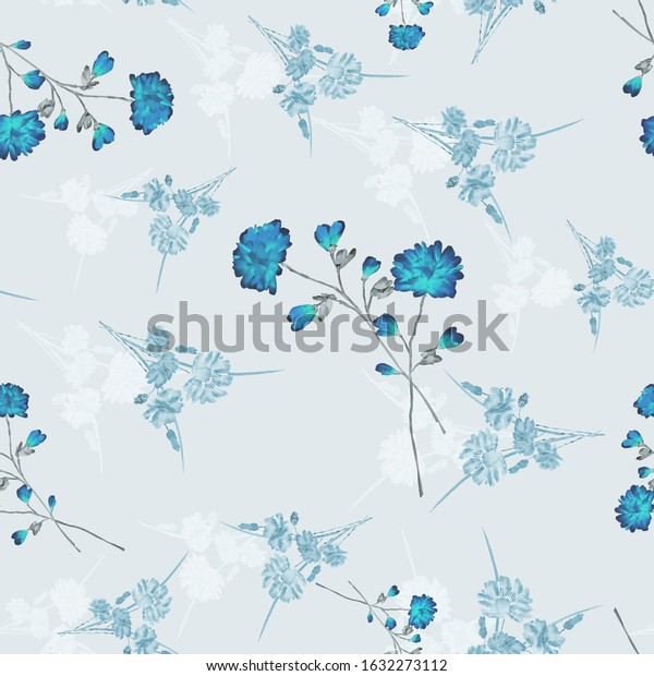 Seamless pattern of wild, small blue and white flowers on a  light blue background. Watercolor