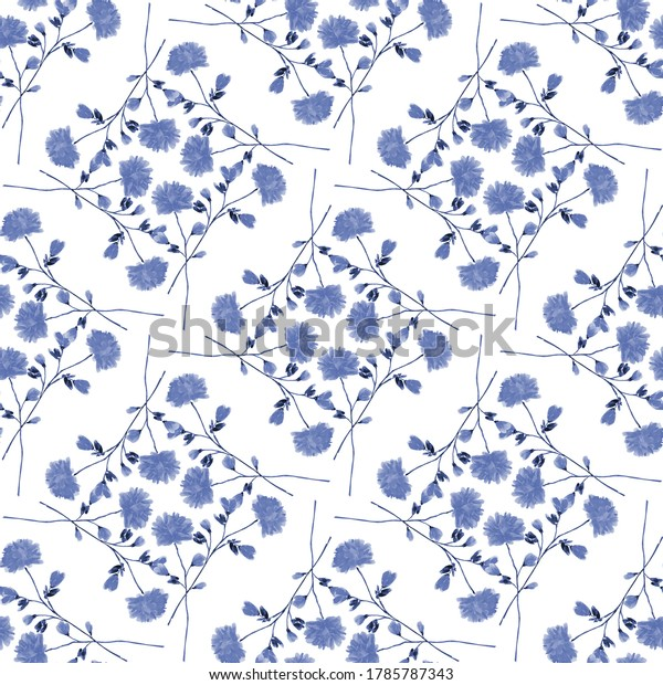 Seamless pattern wild small blue flowers and branchs on a white background. Ornament. Watercolor