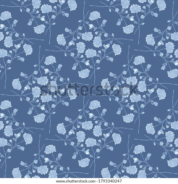 Seamless pattern wild small blue flowers on a deep blue background. Ornament. Watercolor