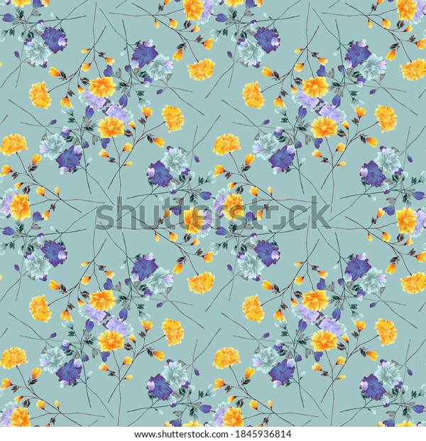 Seamless pattern wild small blue and yellow flowers on a turquoise background. Ornament. Watercolor