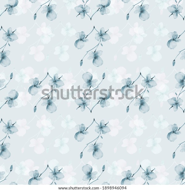 Seamless pattern wild small blue and white flowers and branchs on a blue background. Watercolor