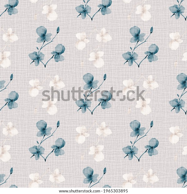 Seamless pattern wild small blue and beige  flowers on a light linen pink background. Watercolor -2